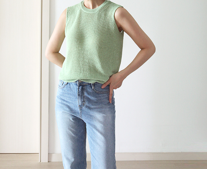 3-color mint top